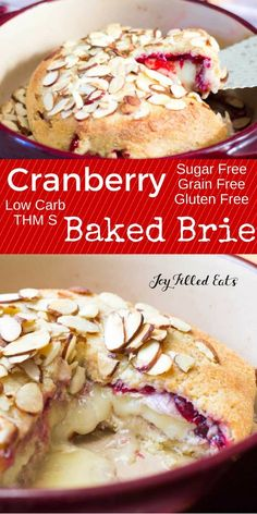 This Baked Brie is covered with sweet cranberry sauce, golden dough, and toasted almonds. It is low carb, grain free, gluten free, sugar free, and THM S. via @joyfilledeats