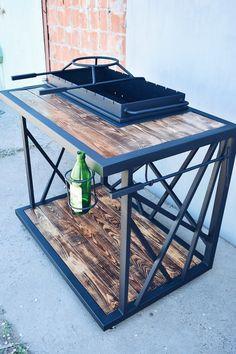 Bbq Pit Smoker, Fire Pit Grill, Fire Pit Backyard, Handmade Wood Furniture, Metal Furniture, Grill Oven, Bbq Grill, Small Restaurant Design, Bbq Table