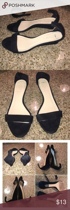 """J.Crew black suede leather wedge heels sz 9 J.Crew black suede leather wedge heels sz 9 good condition light scuffs one ankle strap is missing so you can use something like satin ribbon to use as a replacement. 2"""" wedge heels sold as is final price listed J. Crew Shoes Wedges"""
