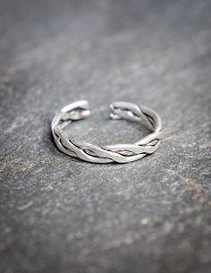 Torsade silver ring , sterling silver ring adjustable , phalanx ring bague de phalange en argent