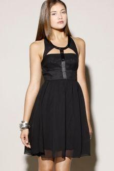 Black Silk Cut Out Dress | Thrifted & Modern