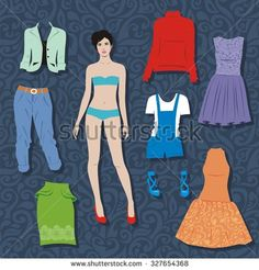 Paper doll with a set of clothes. Cute fashion girl. Template for ...