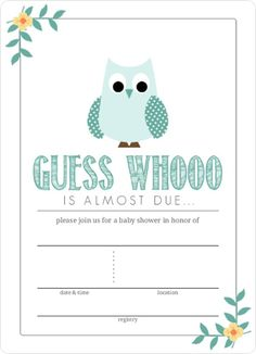 Eye Catching Teal Blue Owl Graphic Fill In Blank Baby Shower Invitation Template Design Sample