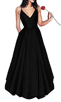 Little Star Women's Long Satin Prom Dresses 2019 V Neck Evening Gown A Line | Shop For Trendy | Online Trendy Shop