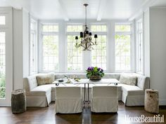 A 10-foot-long banquette and century-old French pastry table.