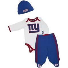 Take a look at this White New York Giants Footie Pants Set - Infant by NFL on today! Newborn Outfits, Baby Boy Outfits, Newborn Clothing, Toddler Sports, New York Giants Football, Boy Baby Shower Themes, New Baby Boys, Stylish Baby, New York Jets