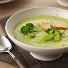 Creamy Broccoli Soup with Croutons | Marcia Kiesel's luxuriously creamy soups are the perfect starters for Thanksgiving dinner because they can be made in advance, then reheated and garnished just before serving.