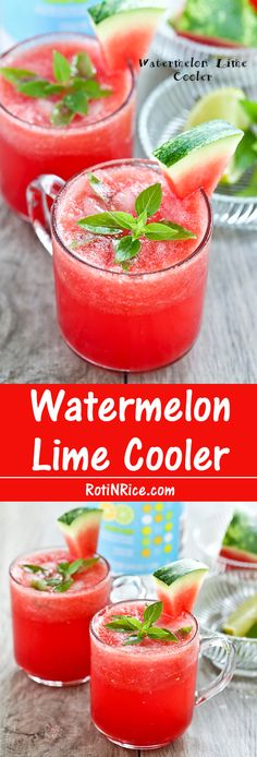 Watermelon Lime Cooler - A great way to beat the heat on hot summer days. Seltzer or club soda and lime makes it sparkle.