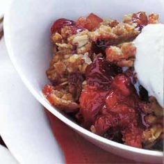 Cranberry-Apple Crisp with Oatmeal Streusel Topping.  Made 10/26/16 - crisp topping especially good.  Used honey crisp apples and half of the cranberries recommended.