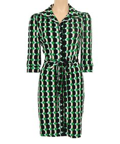 This Meadow Green & Black Geometric Shirt Dress by Louie et Lucie is perfect! #zulilyfinds