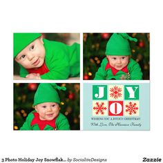 3 Photo Holiday Joy Snowflake Photo Card