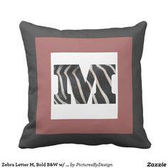Zebra Letter M, Bold B&W w/ Cranberry, B&W Chevron Throw Pillows