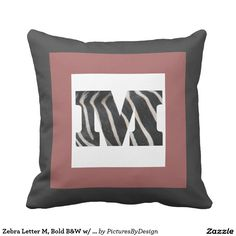 Zebra Letter M, Bold B&W w/ Cranberry, B&W Chevron Throw Pillows