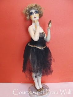 """This cute 16"""" statuette is marked, """"CFG Made in France, Paris."""" The top of the base looks like it was handwritten when the plaster/cement w..."""