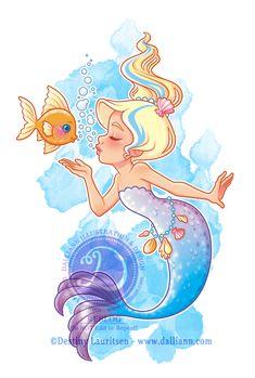 Blue Mermaid and Fish - © Destiny Lauritsen / Dalliann Illustration & Design