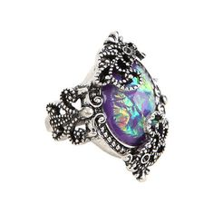 Filigree Galaxy Stone Ring Hot Topic ($5.20) via Polyvore featuring jewelry, rings, accessories, filigree jewelry, planet rings, stone jewelry, filigree ring and iridescent jewelry