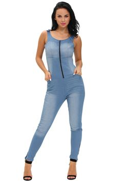 6faad4b3e225 Bombshell style for the season in this must-have denim jumpsuit. This denim  jumpsuit