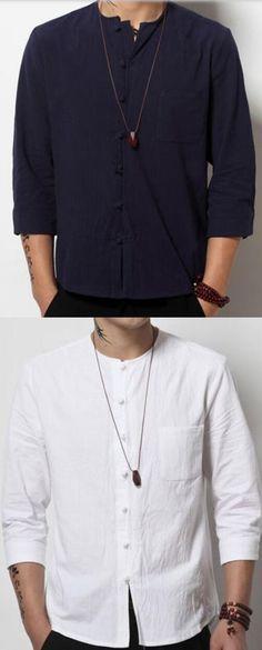 6570e4d5ddfb64 Men s Dailywear Date Simple Solid Round Neck Shirt Cheap Mens Shirts