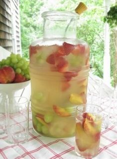No-Fail Cocktail ~ 1 bottle of white wine: 3 cans of fresca, and fruit (peaches, strawberries, grapes, etc)