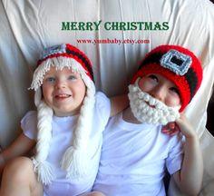 Santa Hats Christmas Hat Elf Hat Christmas Photo Props Gift Ideas Beard Hat Bearded Beanie on Etsy, $39.95
