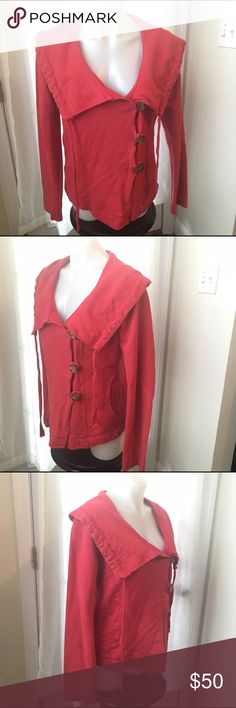 LUCKY BRAND Wood Button Wrap Cinch Collar Cardigan Excellent Preowned Condition with very light to no overall wear. True Red medium-weight 100% cotton with asymmetrical wooden toggle button closure. Women's Size L ❤️ Lucky Brand Tops Sweatshirts & Hoodies