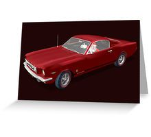 Santa Claus Driving Ford Mustang Greeting Cards & Postcards