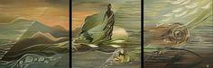 Résonance. (Rimbaud inspiration) Triptyque. 1.80 x 0.60m. Oil on canvas. IdR copyright.