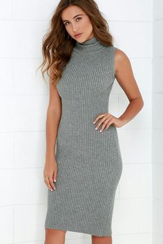11f87606121 Why don t you mosey on down and let the Cozy on Down Grey Midi Sweater Dress  show you how good a sweater dress can get! Ribbed knit shapes a sleeveless  ...