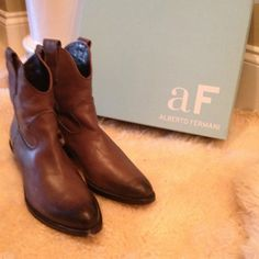 Brand New Luxury Cowboy Boots From Neiman Marcus. :/:: LUXURY COWBOY BOOTS :://:/::  Size 38.5 ::::::/:: Beautiful brownish-gray color ::://:: PERFECT CONDITION AND IN BOX! ✨ Alberto Fermani Shoes
