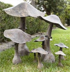 Who thought a mushroom could be so charming or elegant or sophisticated. The large one stands alone as a piece of art tucked into large group of tall green shrubbery. Authentic Provence or Lars Bolander, Dixie Highway, West Palm Beach, FL Cement Garden, Cement Art, Metal Garden Art, Concrete Crafts, Concrete Art, Concrete Garden Ornaments, Garden Rake, Concrete Sculpture, Garden Tub