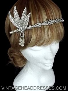 Great Gatsby Vintage 1920s Art Deco Flapper Headpiece headband - Wedding -  Bridal - Event