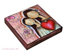 New Size! Un Solo Corazón    Mother Daughter Love  Giclee by FlorLarios, $18.00