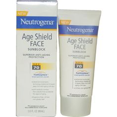 Neutrogena Age Shield Face Lotion, SPF 70, 3 Ounce (Pack of 2) by Neutrogena. $18.24. Combats free radicals that  accelerate signs of aging. Age Shield  Face Sunblock SPF 70 by Neutrogena for Unisex. Age Shield  Face Sunblock SPF 70 by Neutrogena for Unisex - 3 oz Sunblock. Oil-free. Enriched anti-oxidant blend with Vitamin A, C, & E. Age Shield Face Sunblock brings you superior balanced protection against both types of harmful rays with a true breakthrough in sunscreen tec...