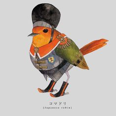 Torigun birds dressed in military uniforms by Japanese artist Sato.   Así de guapo.