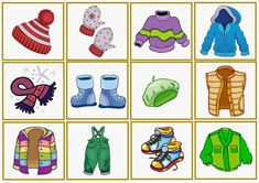 Beste 7 Kleidung Im Winter Kindergarten Seasons Activities, Winter Activities, Preschool Activities, Kindergarten, Classroom Art Projects, Math For Kids, Cartoon Pics, Matching Games, Winter Theme
