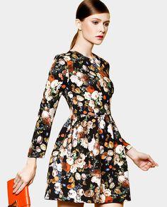 Floral print long sleeve dress