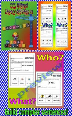 """20 writing activities - building and reading sentences. Each activity has one incomplete sentence and six choices to complete it. The six choices include both images and words thus being appropriate for all students from remedial, benchmark and above benchmark/higher skill level. Students make six different sentences using the choices provided, read them and write one of them and/or all of them based on the skill level, time frame, etc.  #1 of 3 in the """"Literacy Activities – CCS Aligned""""…"""