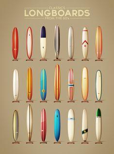 Pranchas de surf clássicas dos anos 60. #longboards #60's #design #inspiration