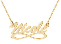 Personalized Name Necklace Infinity Symbol Personalized Hand Made Custom Gold Tone Jewelry
