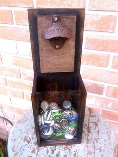 Bottle Cap Catcher - Rustic Bottle Opener with Shadow box - Men's Gifts - Beer Opener