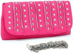 DASEIN - ZIPPER CLUTCH - RHINESTONE / STUD ACCENTS -- HOT PINK