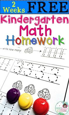 Free printable math homework for Kindergarten. This resource for the whole year is Common Core aligned and continuously reviews skills all year. Printer friendly.