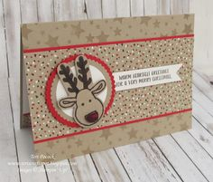 This Rudolf is super cute! He's another of the images from the Cookie Cutter Christmas stamp set - again punched out using the coordinati...