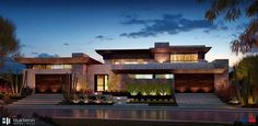 Front exterior view at night fall. #architecture #builder #sustainable