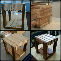 Sgabello 30x30 h40 Pallet wood. Bi-color con impregnante trasparente e Moro.