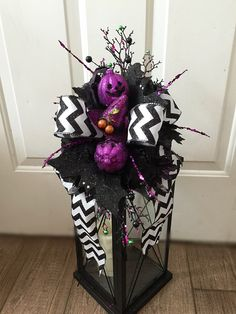Chevron Halloween Lantern Swag, Bats Witch Hats Jack O' Lanterns Swag, Spooky Floral Arrangement, Halloween Candle Decor, Fall Centerpiece by Azeleapetals on Etsy https://www.etsy.com/listing/203176861/chevron-halloween-lantern-swag-bats
