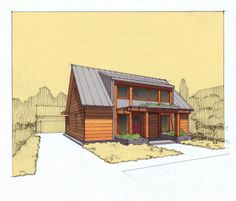 Tom Bassett-Dilley Architect, small Passive House prototype: cottage-bungalow modernized, to be healthy, efficient, and attainable.  www.drawingonplace.com