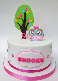 Eunice Cake Designs - a cute cake design Torta Baby Shower, Shower Cakes, Pretty Cakes, Cute Cakes, Fondant Cakes, Cupcake Cakes, Fruit Cakes, Owl Cake Birthday, Foto Pastel