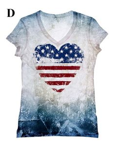 woman USA Heart print top, t shirt and tank by hellominky xs - plus size
