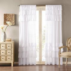 "Ariana Anna Oversized Ruffle Curtain Panel - White (50""x84"") : Target"
